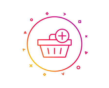 Add to Shopping cart line icon. Online buying sign. Supermarket basket symbol. Gradient pattern line button. Add purchase icon design. Geometric shapes. Vector