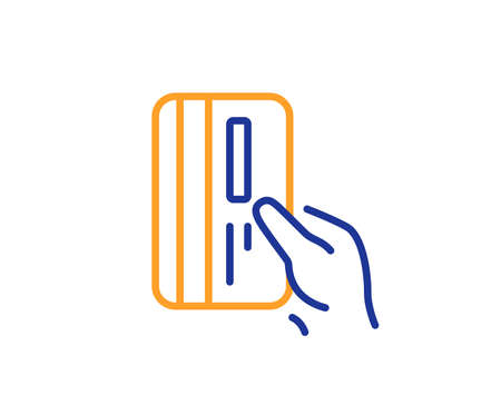Credit card line icon. Hold Banking Payment card sign. ATM service symbol. Colorful outline concept. Blue and orange thin line color icon. Payment card Vector