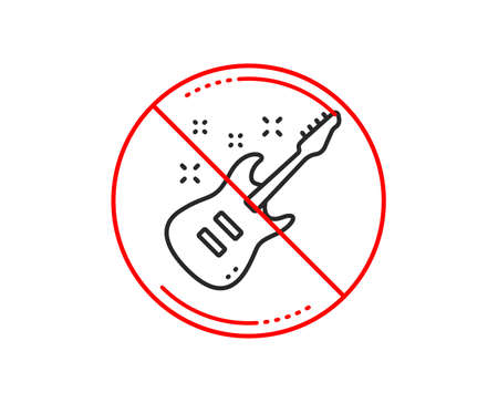 No or stop sign. Electric guitar line icon. Music sign. Musical instrument symbol. Caution prohibited ban stop symbol. No  icon design.  Vector