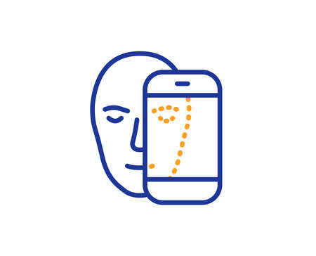 Face biometrics line icon. Facial recognition by phone sign. Head scanning symbol. Colorful outline concept. Blue and orange thin line color icon. Face biometrics Vector 일러스트