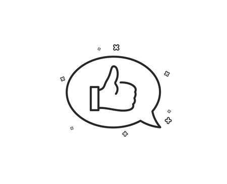 Positive feedback line icon. Communication symbol. Speech bubble sign. Geometric shapes. Random cross elements. Linear Feedback icon design. Vector  イラスト・ベクター素材
