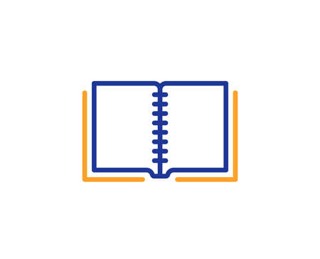 Book line icon. Education symbol. Instruction or E-learning sign. Colorful outline concept. Blue and orange thin line color icon. Book Vector