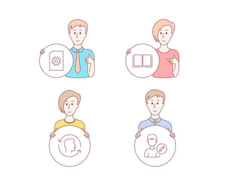 People hand drawn style. Set of File management, Face id and Book icons. Edit person sign. Doc with cogwheel, Identification system, E-learning course. Change user info.  Character hold circle button