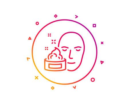 Face cream line icon. Skin care lotion sign. Cosmetics symbol. Gradient pattern line button. Face cream icon design. Geometric shapes. Vector