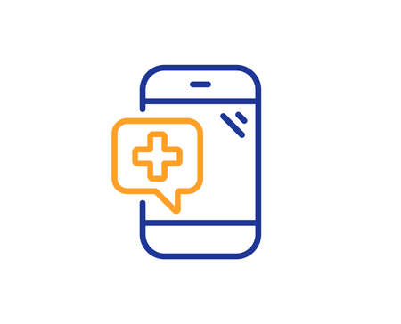 Medicine phone line icon. Mobile medical help sign. Colorful outline concept. Blue and orange thin line color Medical phone icon. Vector Banque d'images - 126856353