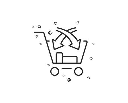 Cross sell line icon. Market retail sign. Geometric shapes. Random cross elements. Linear Cross sell icon design. Vector