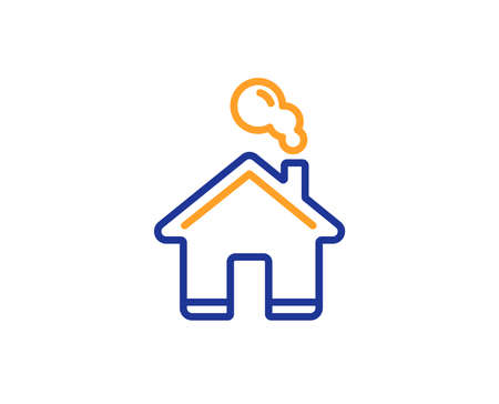 Home line icon. House sign. Building or Homepage symbol. Colorful outline concept. Blue and orange thin line color icon. Home Vector
