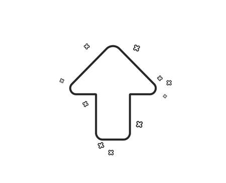 Upload arrow line icon. Direction Arrowhead symbol. Navigation pointer sign. Geometric shapes. Random cross elements. Linear Upload icon design. Vector Illustration
