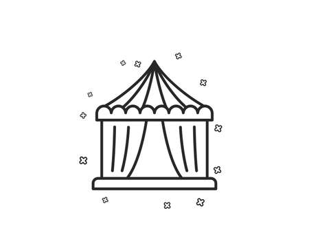 Amusement park tent line icon. Circus tickets office sign. Geometric shapes. Random cross elements. Linear Circus tent icon design. Vector Illustration