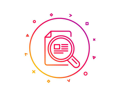 Check article line icon. Ð¡opyright sign. Magnifying glass symbol. Gradient pattern line button. Check article icon design. Geometric shapes. Vector