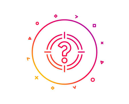 Target with Question mark line icon. Aim symbol. Help or FAQ sign. Gradient pattern line button. Headhunter icon design. Geometric shapes. Vector