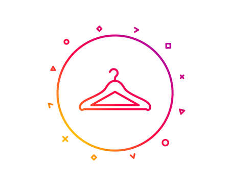 Cloakroom line icon. Hanger wardrobe sign. Clothes service symbol. Gradient pattern line button. Cloakroom icon design. Geometric shapes. Vector Stock Vector - 126856382