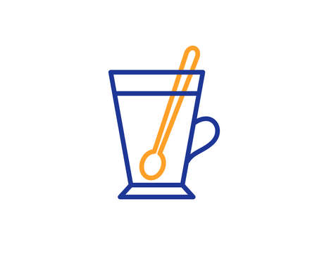 Cup with spoon line icon. Fresh beverage sign. Latte or Coffee symbol. Colorful outline concept. Blue and orange thin line color icon. Tea mug Vector