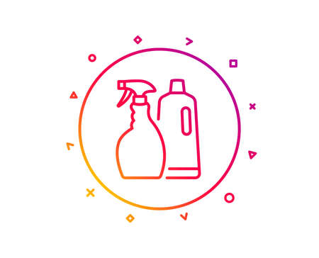 Cleaning spray and Shampoo line icon. Washing liquid or Cleanser symbol. Housekeeping equipment sign. Gradient pattern line button. Shampoo and Spray icon design. Geometric shapes. Vector
