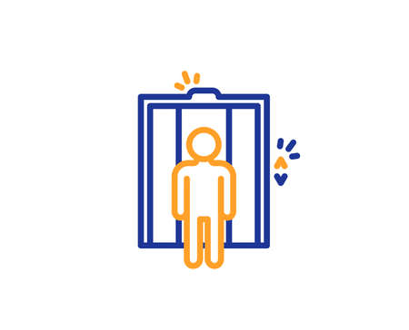 Lift line icon. Elevator sign. Transportation between floors symbol. Colorful outline concept. Blue and orange thin line color icon. Elevator Vector 일러스트
