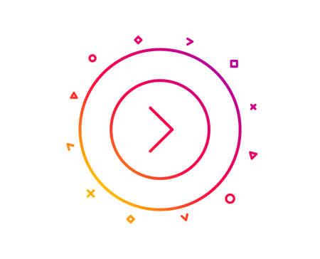 Forward arrow line icon. Next Arrowhead symbol. Next navigation pointer sign. Gradient pattern line button. Forward icon design. Geometric shapes. Vector