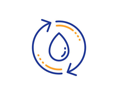 Water drop line icon. Recycle clean aqua sign. Refill liquid symbol. Colorful outline concept. Blue and orange thin line color Refill water icon. Vector Çizim