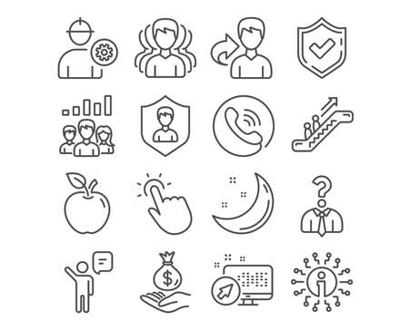 Set of Engineer, Security agency and Group icons. Touchpoint, Income money and Agent signs. Teamwork results, Hiring employees and Escalator symbols. Vector Illustration