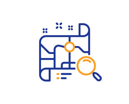 Search map line icon. Find location address sign. Colorful outline concept. Blue and orange thin line color Search map icon. Vector