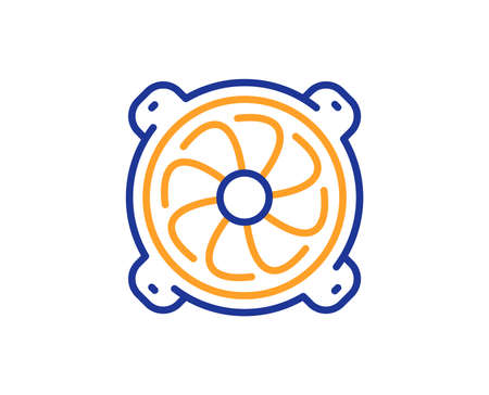 Computer cooler line icon. PC fan component sign. Colorful outline concept. Blue and orange thin line color Computer fan icon. Vector