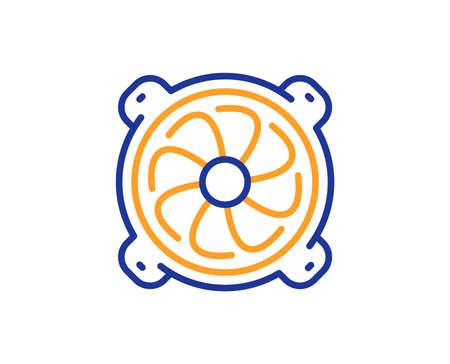 Icona della linea di raffreddamento del computer. Segno del componente della ventola del PC. Concetto di contorno colorato. Colore della linea sottile blu e arancione Icona della ventola del computer. Vettore
