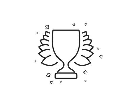 Award cup line icon. Winner Trophy with Laurel wreath symbol. Sports achievement sign. Geometric shapes. Random cross elements. Linear Winner icon design. Vector Illustration