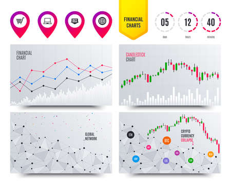 Financial planning charts. Online shopping icons. Notebook pc, shopping cart, buy now arrow and internet signs. WWW globe symbol. Cryptocurrency stock market graphs icons. Trendy design. Vector