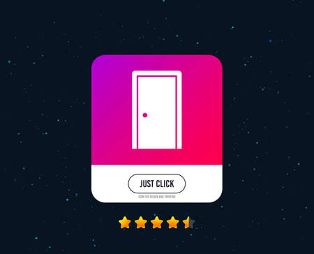 Door sign icon. Enter or exit symbol. Internal door. Web or internet icon design. Rating stars. Just click button. Vector Foto de archivo - 126856433