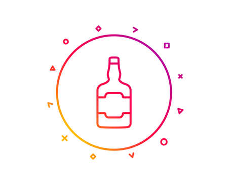 Whiskey bottle line icon. Scotch alcohol sign. Gradient pattern line button. Whiskey bottle icon design. Geometric shapes. Vector Ilustrace