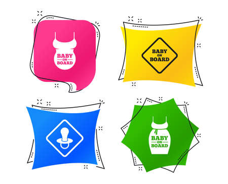 Baby on board icons. Infant caution signs. Child pacifier nipple. Pregnant woman dress with big belly. Geometric colorful tags. Banners with flat icons. Trendy design. Vector