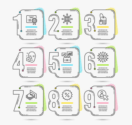 Infographic template with numbers 9 options. Set of Atm money, International globe and Face accepted icons. Tea bag, Artificial intelligence and Business portfolio signs. Vector