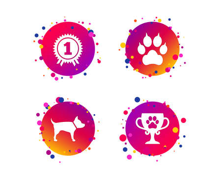Pets icons. Cat paw with clutches sign. Winner cup and medal symbol. Dog silhouette. Gradient circle buttons with icons. Random dots design. Vector Ilustrace