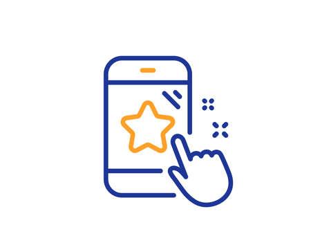 Icona della linea di valutazione a stelle. Segno del telefono di feedback. Simbolo di soddisfazione del cliente. Concetto di contorno colorato. Colore linea sottile blu e arancione Icona di valutazione delle stelle. Vettore Vettoriali