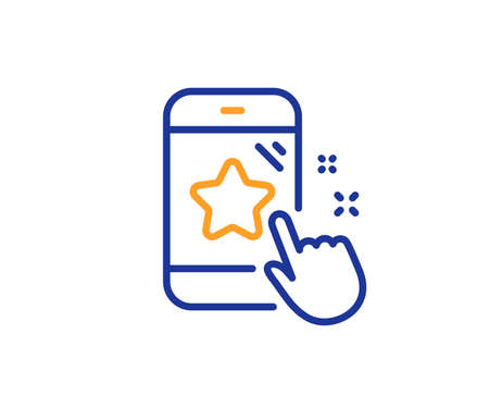 Star rating line icon. Feedback phone sign. Customer satisfaction symbol. Colorful outline concept. Blue and orange thin line color Star rating icon. Vector