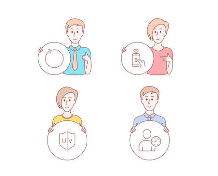 People hand drawn style. Set of Phone payment, Loop and Uv protection icons. Time management sign. Mobile pay, Refresh, Ultraviolet. User with clock. Character hold circle button. Man with like hand Ilustración de vector