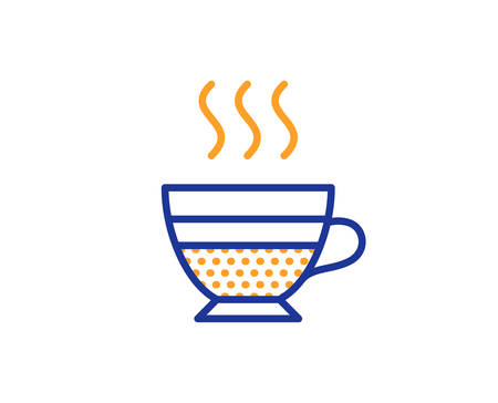 Cafe creme icon. Hot drink sign. Beverage symbol. Colorful outline concept. Blue and orange thin line color icon. Cafe creme Vector