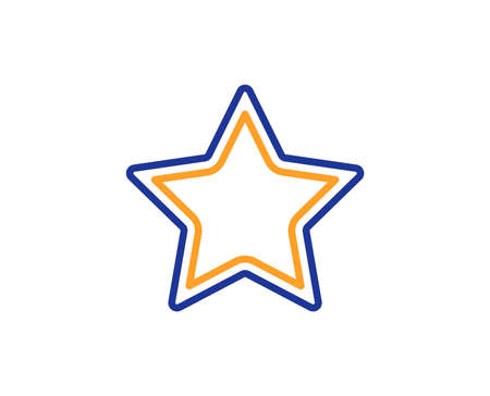 Star line icon. Best rank sign. Bookmark or Favorite symbol. Colorful outline concept. Blue and orange thin line color icon. Star Vector
