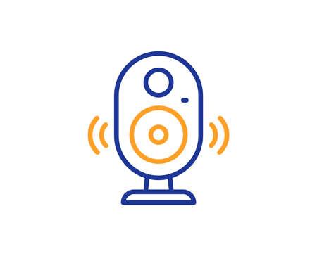 Speaker line icon. Computer component sign. Sound symbol. Colorful outline concept. Blue and orange thin line color Speaker icon. Vector Illustration