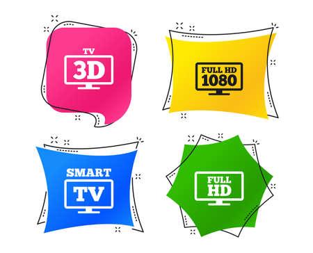Icono de modo Smart TV. Símbolo de pantalla ancha. Resolución full hd 1080p. Signo de televisión 3D. Etiquetas de colores geométricos. Banners con iconos planos. Diseño de moda. Vector