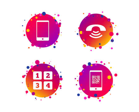 Phone icons. Smartphone with Qr code sign. Call center support symbol. Cellphone keyboard symbol. Gradient circle buttons with icons. Random dots design. Vector Illustration