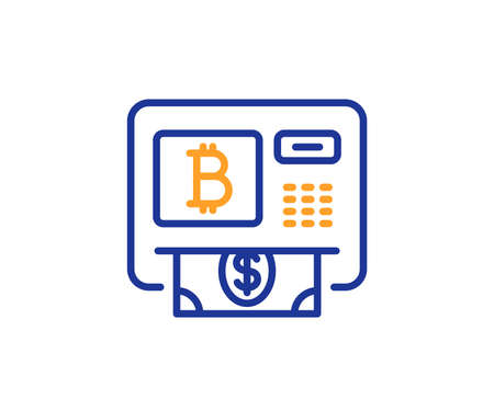Bitcoin ATM line icon. Cryptocurrency cash sign. Dollar money symbol. Colorful outline concept. Blue and orange thin line color Bitcoin atm icon. Vector