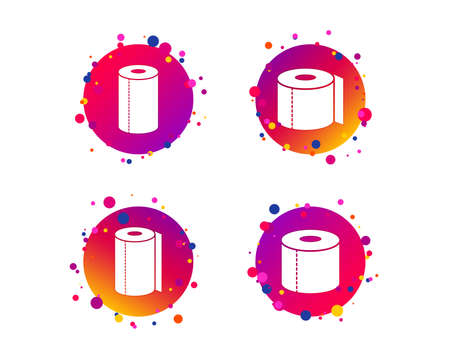 Toilet paper icons. Kitchen roll towel symbols. WC paper signs. Gradient circle buttons with icons. Random dots design. Vector