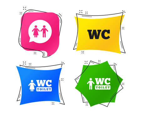 WC Toilet icons. Gents and ladies room signs. Man and woman speech bubble symbol. Geometric colorful tags. Banners with flat icons. Trendy design. Vector Vetores