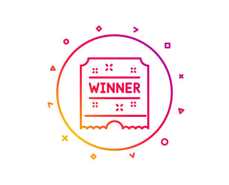Winner ticket line icon. Amusement park award sign. Gradient pattern line button. Winner ticket icon design. Geometric shapes. Vector Illustration
