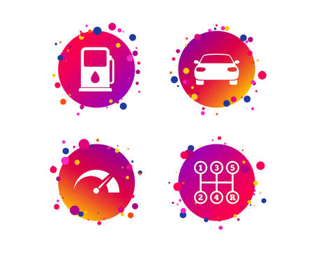 Transport icons. Car tachometer and manual transmission symbols. Petrol or Gas station sign. Gradient circle buttons with icons. Random dots design. Vector Stock Illustratie