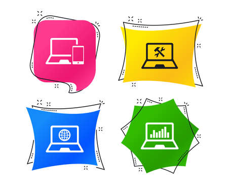 Notebook laptop pc icons. Internet globe sign. Repair fix service symbol. Monitoring graph chart. Geometric colorful tags. Banners with flat icons. Trendy design. Vector