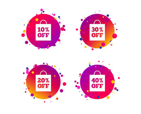 Sale bag tag icons. Discount special offer symbols. 10%, 20%, 30% and 40% percent off signs. Gradient circle buttons with icons. Random dots design. Vector