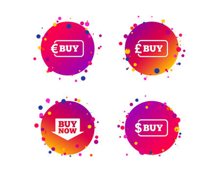 Buy now arrow icon. Online shopping signs. Dollar, euro and pound money currency symbols. Gradient circle buttons with icons. Random dots design. Vector