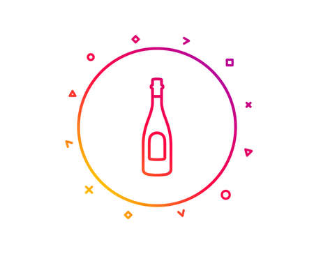 Champagne bottle line icon. Anniversary alcohol sign. Celebration event drink. Gradient pattern line button. Champagne icon design. Geometric shapes. Vector