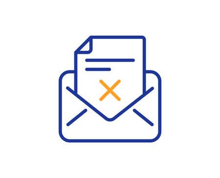 Reject letter line icon. Delete mail sign. Decline message. Colorful outline concept. Blue and orange thin line color Reject letter icon. Vector